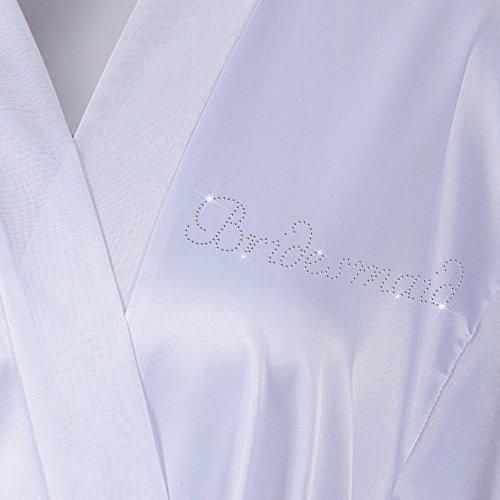 diamante onore white personalizzati satin Wedding d' accappatoio Bianco accappatoio Rhinestone damigella kimono day qAwX81
