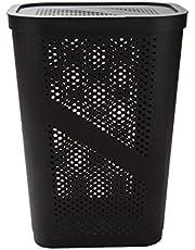 Mind Reader Perforated Plastic Laundry Hamper, 60 Liter, Brown
