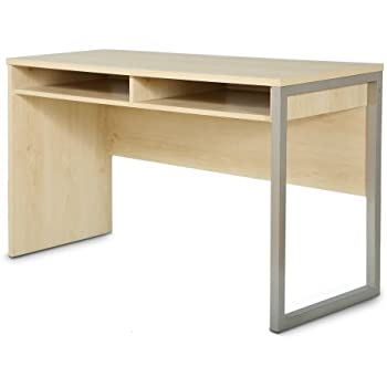 Interface Desk  Sleek Metal Finish  Open Storage for Laptop and Tablet   Natural Maple