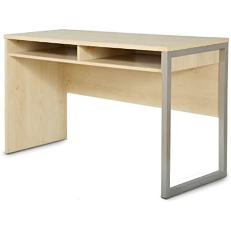 Interface Desk Sleek Metal Finish Open Storage For Laptop And Tablet Natural Maple By South Shore