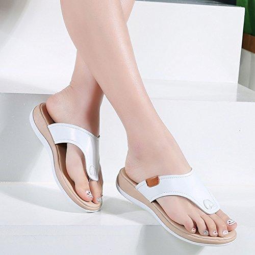 del UK5 cm Tamaño EU38 tacón LIXIONG Altura Fondo 3 de Simple Zapato de de de Exterior Mujer de Plano 5 Blanco 240 Moda Moda Verano CN38 Zapatillas Zapatos S6wqSBgT