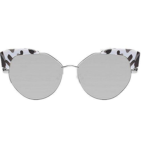 Summer Gafas Cat de para sol Gafas Azul Beach Eyes UV Peggy Marco Gu Protección Lente Style Vacaciones polarizada flores de mujer Silver sol conducir para de Color nwHBHaA
