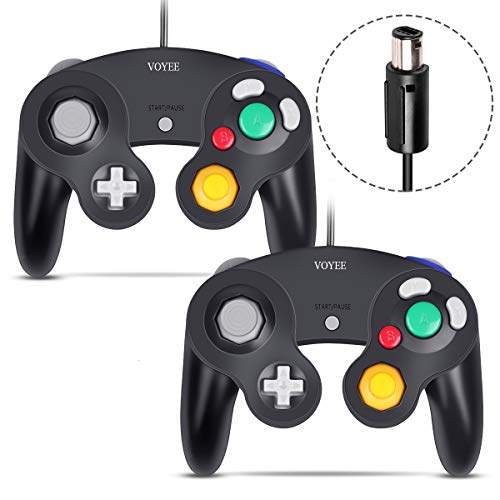 Gamecube Controller, VOYEE Wired Controllers/Gamepad for Nintendo Gamecube & Wii Console (Black/2 Pack) (Real Gamecube Controller)