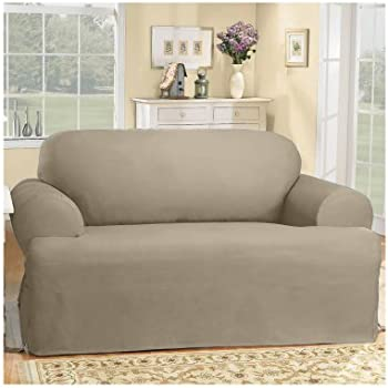 Sure Fit Duck Solid T Cushion   Sofa Slipcover   Linen (SF28614)