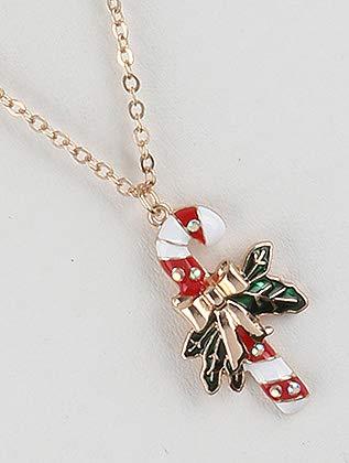 Multi candy cane pendant epoxy coated metal necklace Fashion Jewelry FancyCharm