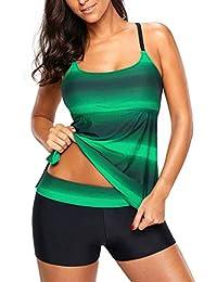 f845f55239b22 Bsubseach Womens Racerback Color Block Tankini Swimsuit with Swim Boy  Shorts S-XXXL