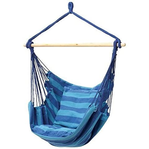 Outdoor Canvas Striped Hanging Hammock Rope Swing Seat Chair Porch Camping Blue (Hippie Acc)