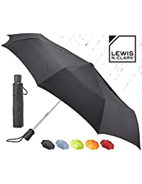 Lewis N Clark 413-Black-One Size Automatic Travel Umbrella