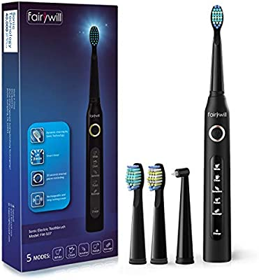 Fairywill Sonic Toothbrush,Electric Toothbrush Clean Teeth Like a Dentist  Rechargeable 4 Hours Charge Minimum 30 Days Use 5 Optional Modes,3 Brush  Heads Black FW-507: Amazon.co.uk: Health & Personal Care