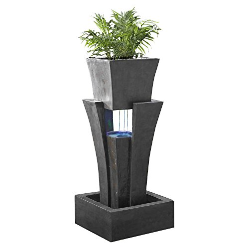(Jeco Raining Water Fountain Planter with Led Light)