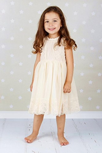 4c9013b44b5 Bow Dream Ivory Off White Lace Vintage Flower Girl s Dress ...