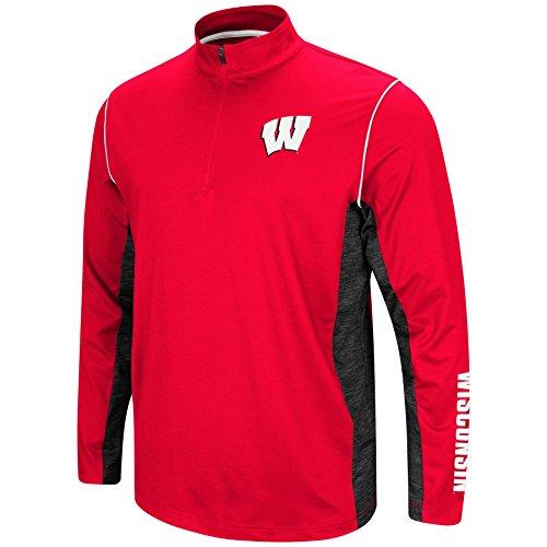Mens Wisconsin Badgers Quarter Zip Wind Shirt - L (Wisconsin Pullover Badgers)