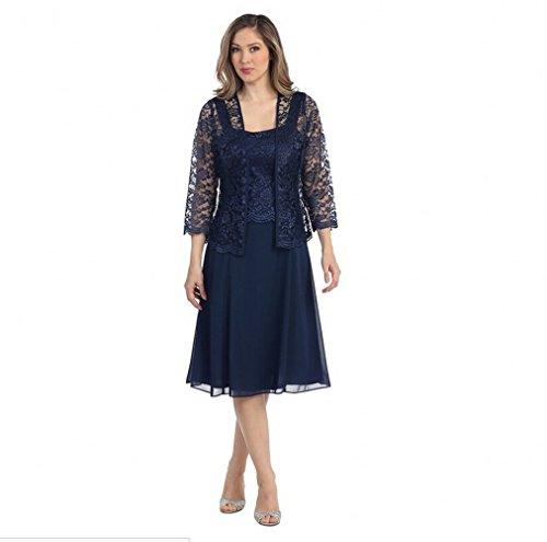 Beauty Of Women's AK With Length Lace The Navy Jacket Bride Mother Knee Dresses qxwUnSYd