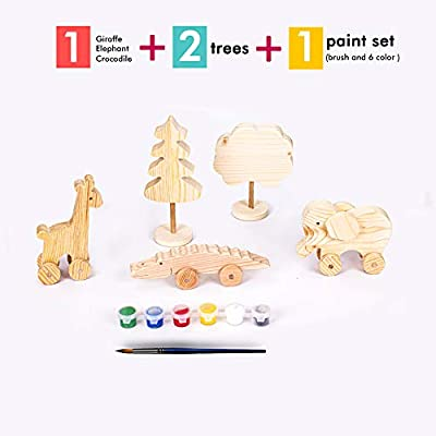 Wooden Toys, Paint Set for Kids 4-8, Craft for Kids Ages 4-8, Great Gift Toys for Boys Girls, Paint Your Own Elephant, Giraffe, Crocodile, Made from Organic Pine Tree, Best for 4, 5, 6 8 Years Olds: Arts, Crafts & Sewing