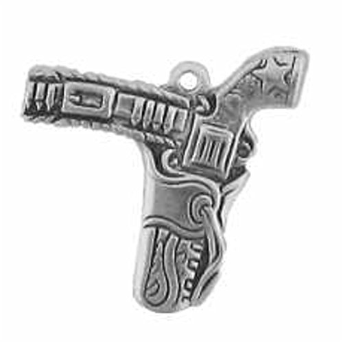 Sterling Silver Thin Flat Wild West Cowboys Decorated Gun In Holster Charm