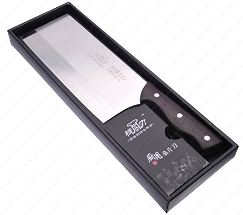 M.V. Trading Commerical Heavy Duty Stainless Steel Butcher Slicing Cleaver with Wooden Handle, Blade Size: 8-3/8 Inch (L) x 3-5/8 Inch (W) | Overall with Handle: 13.00 Inch (L) by M.V. Trading (Image #1)
