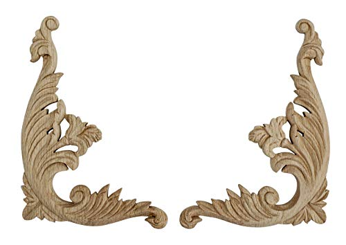 (American Pro Decor 9 in. x 6-3/4 in. x 1/2 in. Unfinished Medium Hand Carved North American Solid Red Oak Wood Onlay Acanthus Wood Scroll)