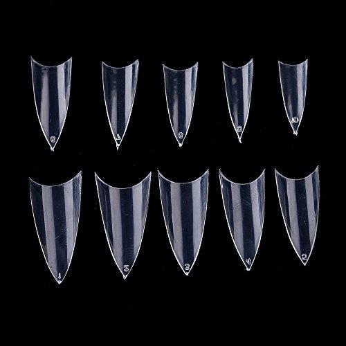 - Yimart 500pcs Clear Sharp Nail Art Tips Ending Stiletto False Nail Tips