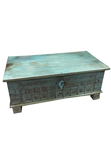Vintage Trunk Blue Distressed Coffee table, chest Table , chai table Old Pitara Iron nailed Eclectic Interior (Chest Teak Table Coffee)