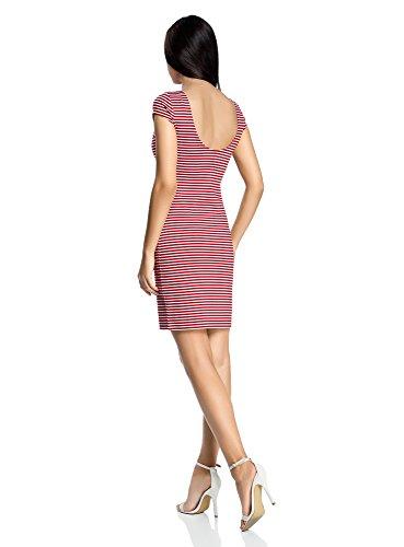 oodji Collection Mujer Vestido Ajustado con Escote en la Espalda Rojo (4510S)