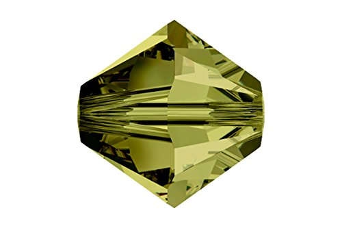Swarovski Crystal, #5328 Bicone Beads 4mm, 24 Pieces, Olivine