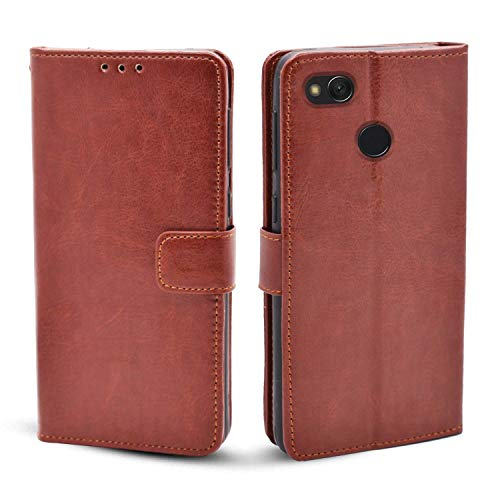 Pikkme Redmi 4 Flip Cover Magnetic Leather Wallet Case Shockproof TPU for Redmi 4 (Brown)
