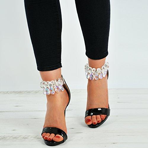 Cucu Fashion New Womens Ankle Strap Diamante Rhinestone Sandals Stiletto Heels Peep Toe Shoes Black lkd8nY