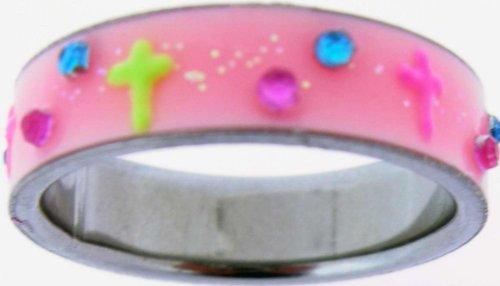 (Ring-Pink UV Glow Cross-Style 516-Sz 9)
