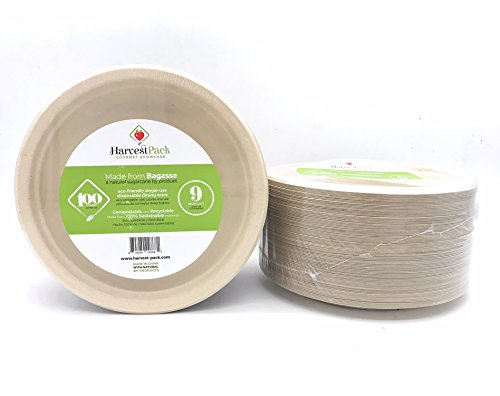 [100 COUNT] 9'' in Round Disposable Plates - Natural Sugarcane Bagasse Bamboo Fibers Sturdy Nine Inch Compostable Eco Friendly Environmental Paper Plate Alternative 100% by-product Tree Plastic Free by Harvest Pack