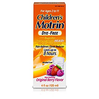 Children's Motrin Oral Suspension Dye-Free Berry, Ibuprofen, Fever Reducer, 4 Oz