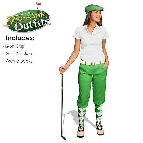 Golf Knickers Ladies Outfit - Matching Golf Cap - Lime - Waist 4 - Sock - Lime/Dk ()