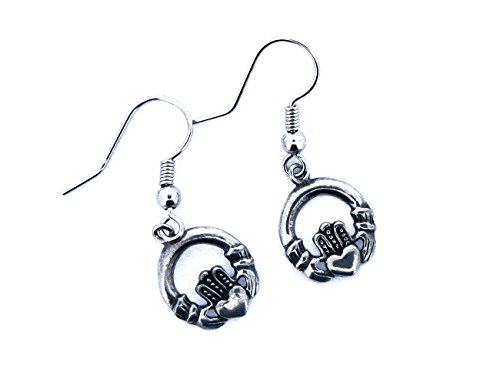 Claddagh Earrings Fish Hook Dangle Pewter From (Pewter Fish Earrings)