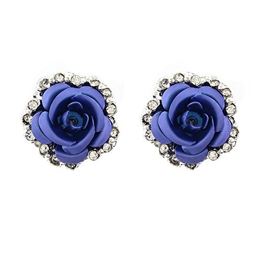 Sterling Silver Plated Cubic Zirconia Shining Blue Coral Carved Rose Flower Womens Stud Earrings (Coral Carved Rose Flower)