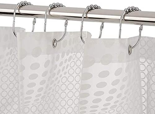 Ginbel Direct 12Pcs Stainless Iron Glide Round Roller Shower Curtain Hooks /& Rings Rustproof Modern Design Decorative for Bathroom Polished Chrome Set of 12 Type 4