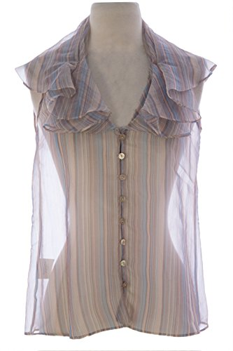 GIORGIO ARMANI Women's Striped Silk Blouse IT 36 Beige & - Giorgio Armani Coupon
