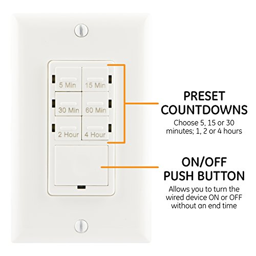 GE Push-Button Countdown Timer Switch, 5-15-30 Minute/1-2-4 Hour, ON/Off,  No Neutral Wire Needed, Ideal for Lights, Exhaust Fans, Heaters, Wall Plate