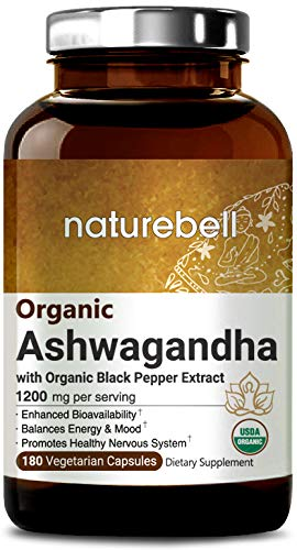 Organic Ashwagandha 1200mg, 180 Capsules with Black Pepper Extract, Powerfully Support Healthy Nervous System, Non-GMO, Vegan Friendly and Made in USA (1 Bottle)