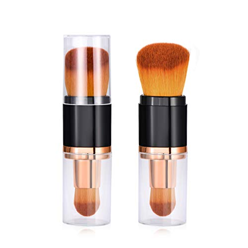 (Dual Ended Oval Makeup Brush - Premium Foundation Brushes, Kabuki Brushes, Blush Brushes, Contour Brushes, Blending Brushes, Face Brushes for Blending Liquid, Cream or Flawless Powder Cosmetics)