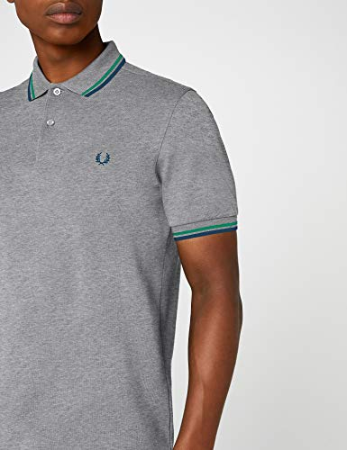 e6c8f40f ... Fred Perry Men's Twin Tipped Shirt-M3600, Steel Marl/Emerald/Enamel  Blue ...