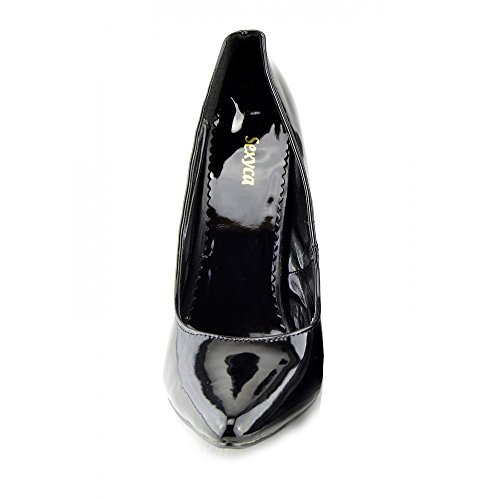 A Kick SCARPE QUEEN DI DRAG DONNA CROSSDRESSER NUOVA DI Footwear DI Vernice Nera DIMENSIONI PUNTA ALTO UOMO TACCO GRANDI CORTE 8qr4wB8