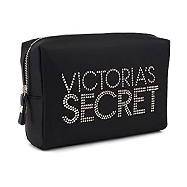 VICTORIA'S SECRET Cosmetic Bag Black with logo Gold Sparkles
