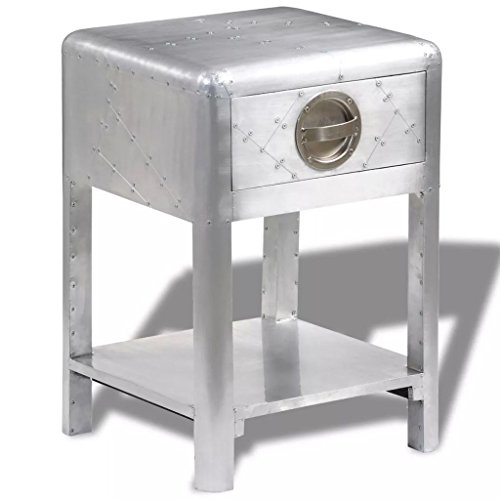 vidaXL Aluminum Aviator Side Coffee Table Nightstand Telephone Stand 1 Drawer ()