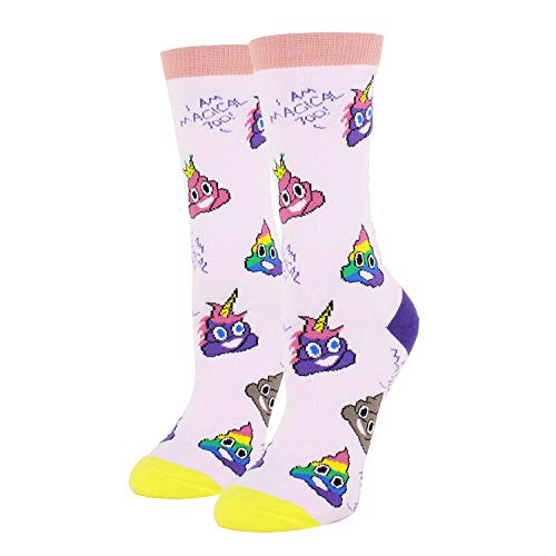 Women Girls Novelty Funny Crew Socks Crazy Colorful Poop Emoji Socks in Pink -