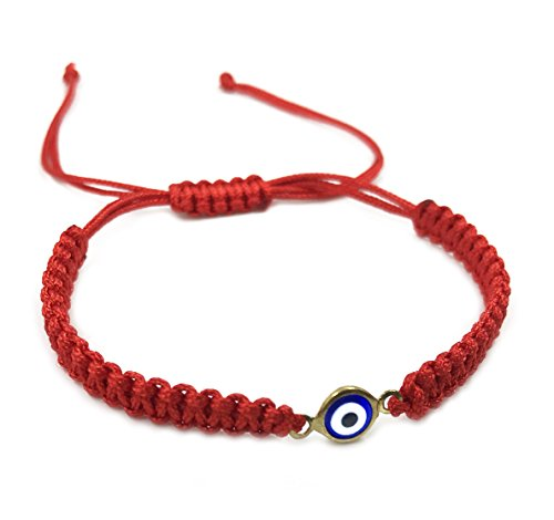 2911-GRB LuckyEye Womens Red Evil Eye Braided String Bracelet Protection Jewelry for Good Luck (GRB)