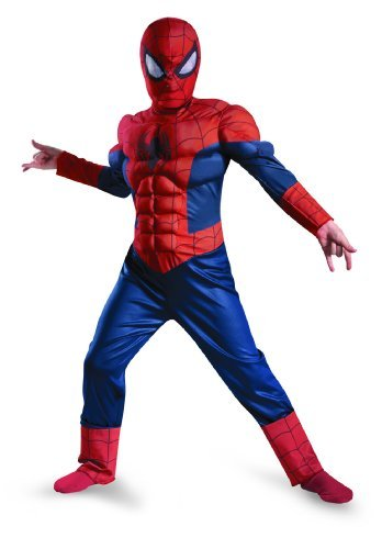 [Disguise Boy's Marvel Ultimate Spider-Man Muscle Light Up Costume, 10-12] (Boy Spider Halloween Costume)