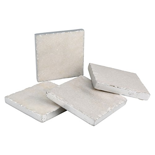 (Thirstystone NMCH002 Silver Edge Square White Marble Coasters, One Size)