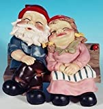 Mr + Mrs Snoozing Garden Gnome on Bench