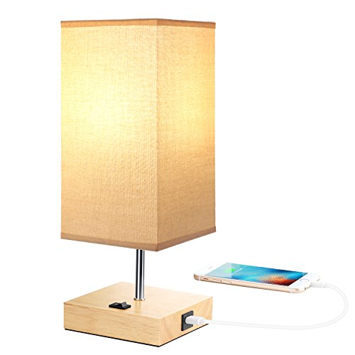Bedside Table Lamps with USB Port for Bedroom, Living Room, A19 LED Bedside Lamp, Wood Desk Lamp USB Charging Port Station, E26 USB Nightstand Lamp, Beige Linen Fabric Lampshade (USB Output 5V 2.1A)