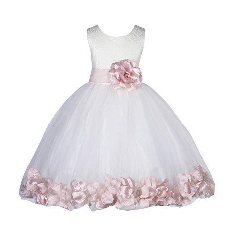 Wedding Pageant Floral Lace Bodice Top Rose Petals Ivory Tulle Flower Girl Dress 165T 4