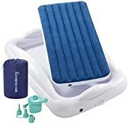 hiccapop Inflatable Toddler Travel Bed with Safety Bumpers [4-Sided]   Portable Toddler Bed for Kids   Toddler